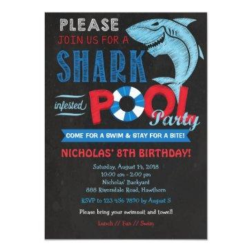 Small Shark Pool Party Invitation, Shark Invitation Front View