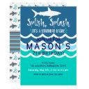 shark splash party swim invitations boys summer