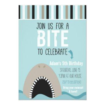 Small Shark & Stripes Birthday Invitations Front View