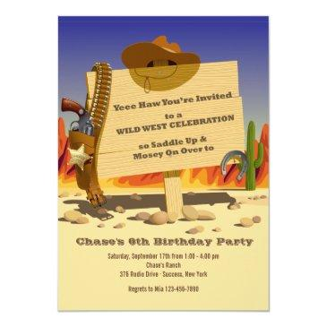 sheriff's holster western birthday party invitatio invitations