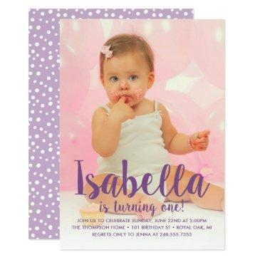 she's turning one | purple girl's first birthday invitation