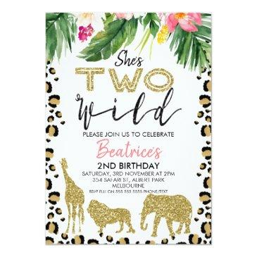 Small She's Two Wild Second Birthday Invitation Front View