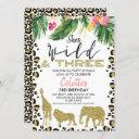 she's wild and three safari 3rd birthday invitation