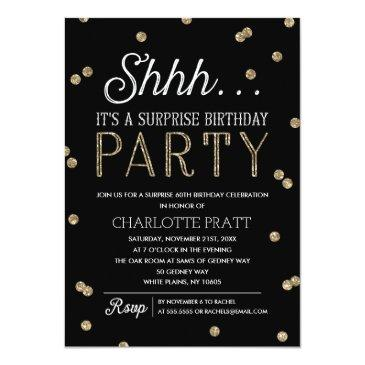 shh surprise birthday party faux glitter confetti invitations