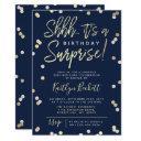 shhh... surprise birthday party gold foil confetti invitations