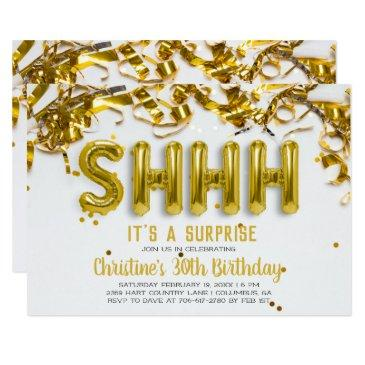 shhhh surprise party invitations | gold balloons