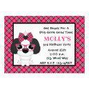 shih tzu puppy dog pink birthday party invitations