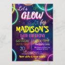 shiny neon glow birthday party custom rsvp invitation