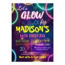 shiny neon glow birthday party custom rsvp invitation