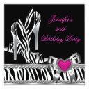 shoes pink 30th birthday party zebra black invitation