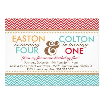 sibling chevron (boys) birthday party invitations