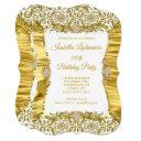 silk damask gold white diamond birthday party invitation