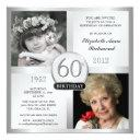 silver 60th birthday invitations then & now photos