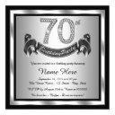 silver 70th birthday party invitation