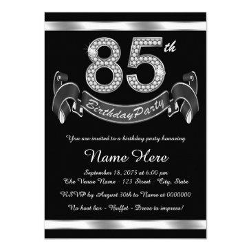 Silver 85th Birthday Party Invitations