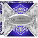 silver & blue diamond damask quinceanera invite