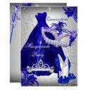 silver & blue dress masquerade quinceanera invite