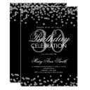 silver glitter confetti 30th birthday black invitations
