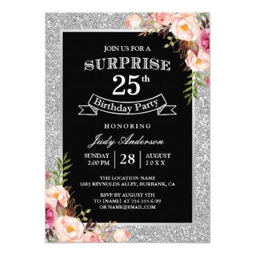 Silver Glitter Floral 25th Surprise Birthday Party Invitations