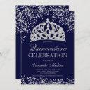 silver glitter navy blue crown tiara quinceañera invitation