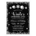 silver glitters xmas onederland birthday party invitation