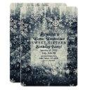 silver icy snowy winter wonderland sweet 16 party invitations