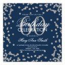 silver navy blue 60th birthday glitter confetti invitation