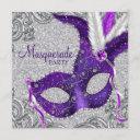 silver purple and pink masquerade party invitation