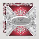 silver & red diamond damask quinceanera invite
