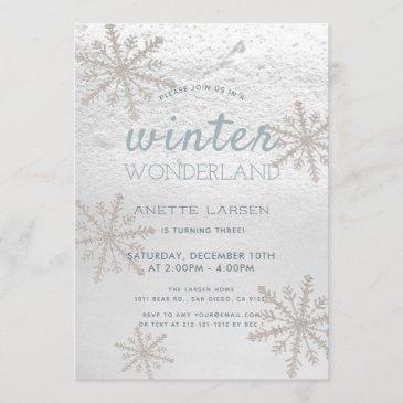 silver snowflake winter wonderland birthday invitation