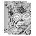 silver sparkle mask masquerade quinceanera invitation
