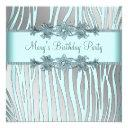 silver teal blue zebra womans birthday party invitation