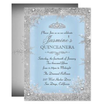 silver winter wonderland blue quinceanera invite