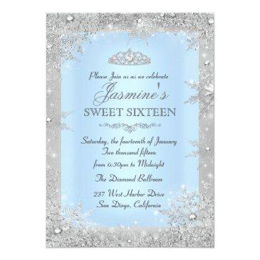 Small Silver Winter Wonderland Blue Sweet 16 Invitations Front View