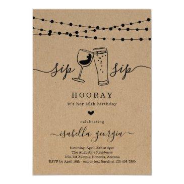 sip sip hooray birthday party invitation