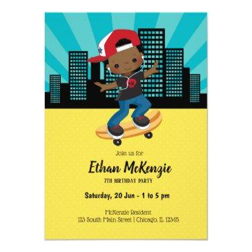 skateboard boy - choose your background color invitations