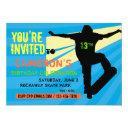 skateboarder teen birthday invitations