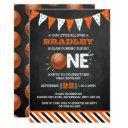 slam dunking the big one | basketball 1st birthday invitation