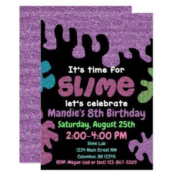 slime birthday party invitation; slime lab; girls invitation
