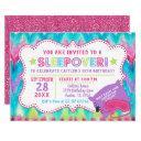 slumber party sleepover pastel rainbow birthday invitation