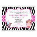 slumber sleepover birthday party girls zebra print invitation