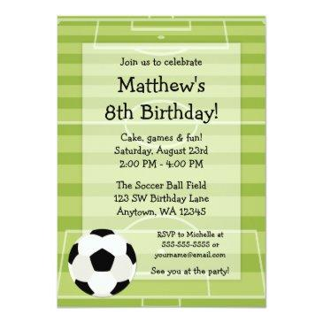 Small Soccer Ball Field Kids Birthday Party Invitations Front View