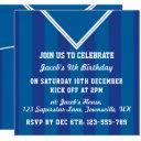 soccer jersey themed party invites, football, blue invitations