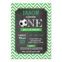 soccer sports party football 1st birthday invite