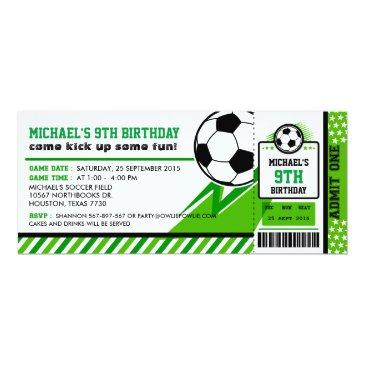 BIRTHDAY PARTY INVITATIONS Football Personalised Ticket Style Sky Blue//White