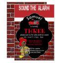 sound the alarm - fireman invitation