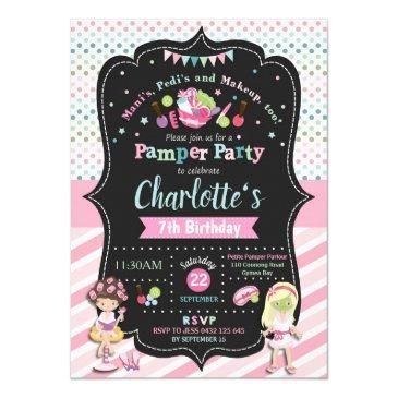 spa pamper party birthday invitations girls
