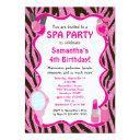 spa party invitations, spa birthday sleepover invitations