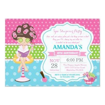 spa sleepover slumber birthday party invitations