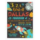 space birthday rocket invitation